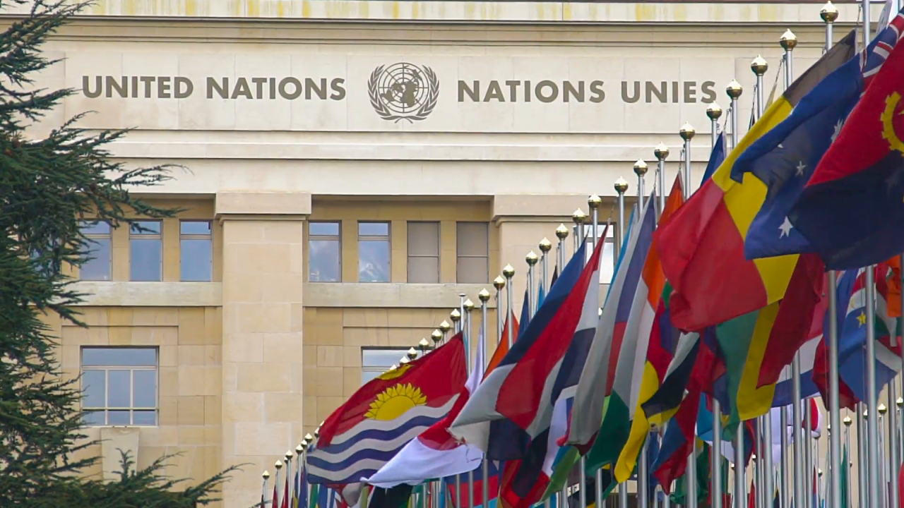 Flags at the United Nations in Geneva